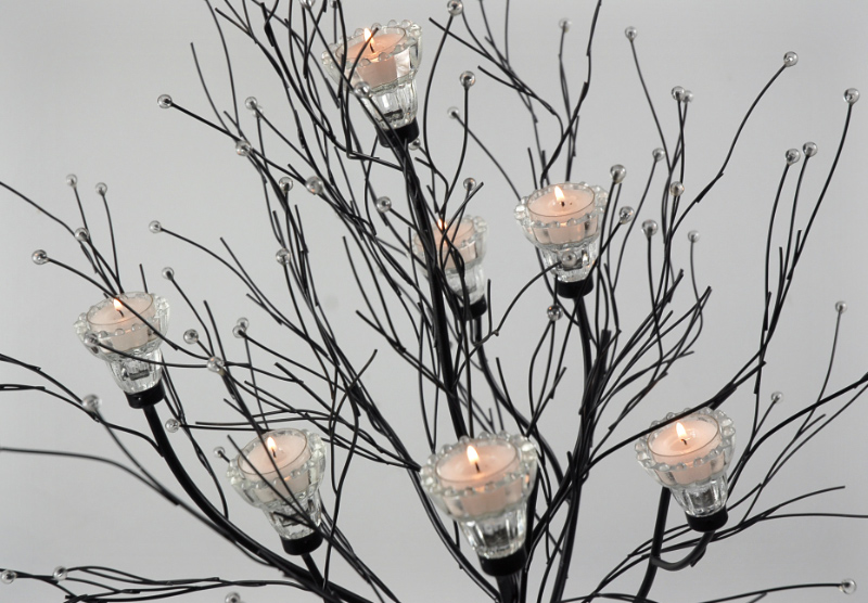 Crystal Candle Tree Black 5ft  with 7 Candleholders