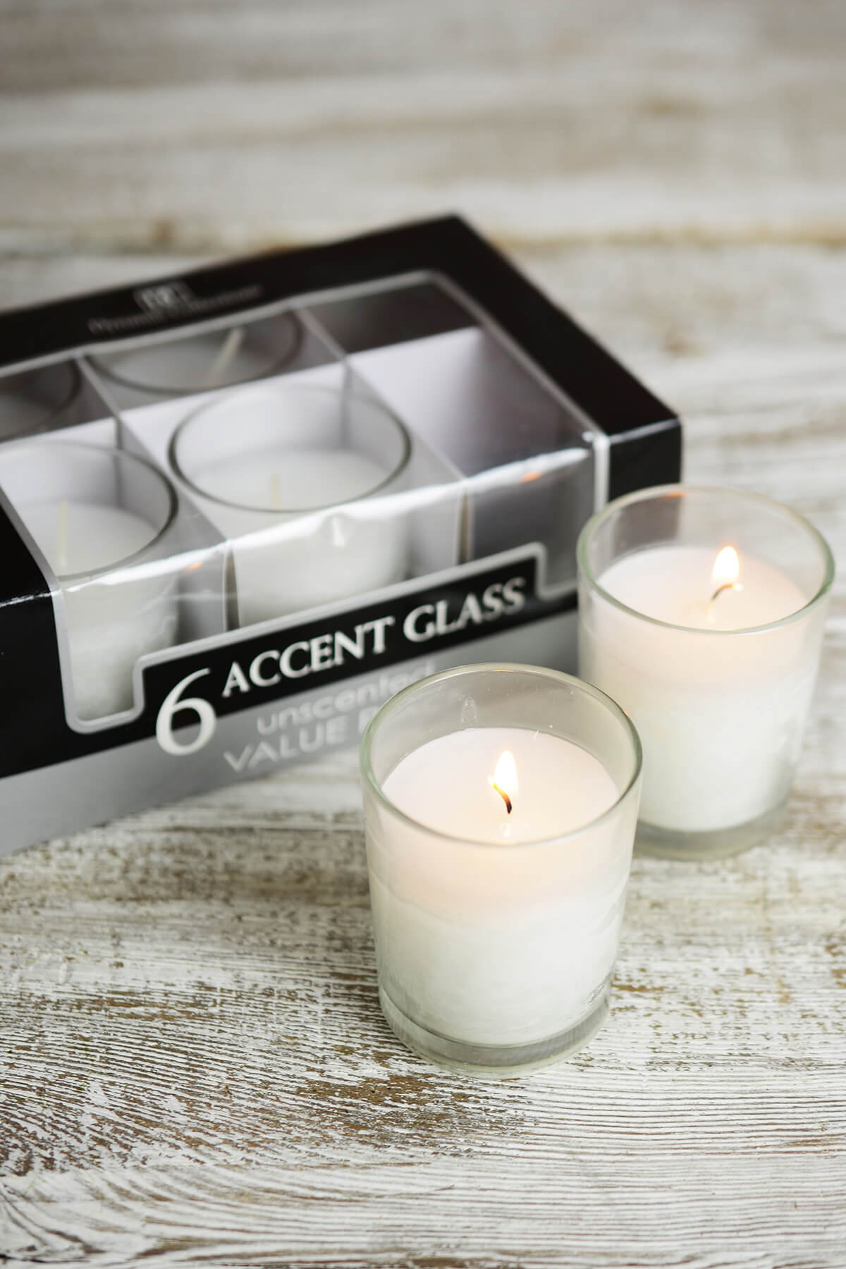6 Unscented Pre-filled Votive Candles in Glass Cups