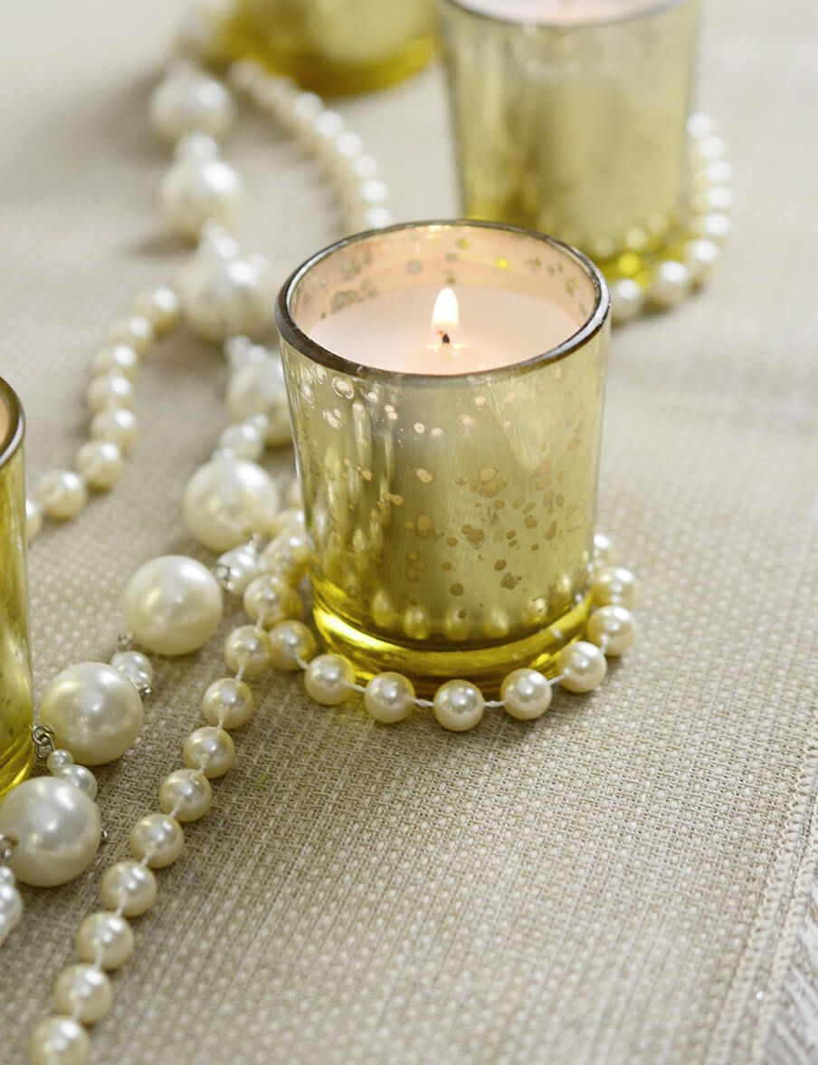12 Gold Mercury Glass Votive Holders and 12 White Unscented Candles