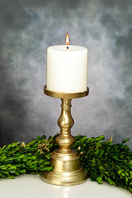 Athena Gold Candleholder 9.5in, Pillar Candle Holders