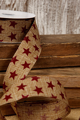 Canvas Ribbon Red Stars 1.5in