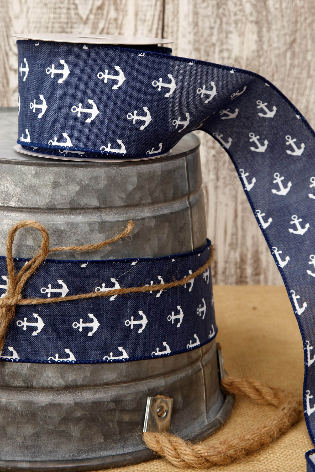 Nautical Ribbon Navy Blue With White Anchors 2 5in X10 Yds Wired