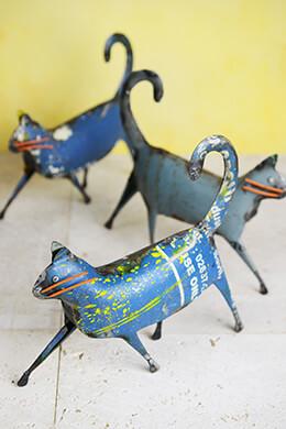 "Recycled Metal Cat Sculpture 9"""