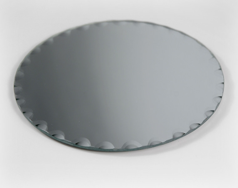 Six quot round table mirrors with scallop edge felted feet