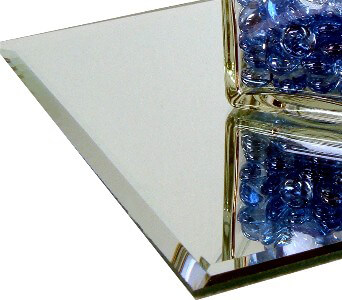 "Six Beveled Edge 8"" Square Glass Centerpiece Table Mirrors, Bulk Buy"