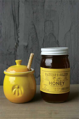 Ceramic Honey Jar w/ Honey Dipper 4.25in