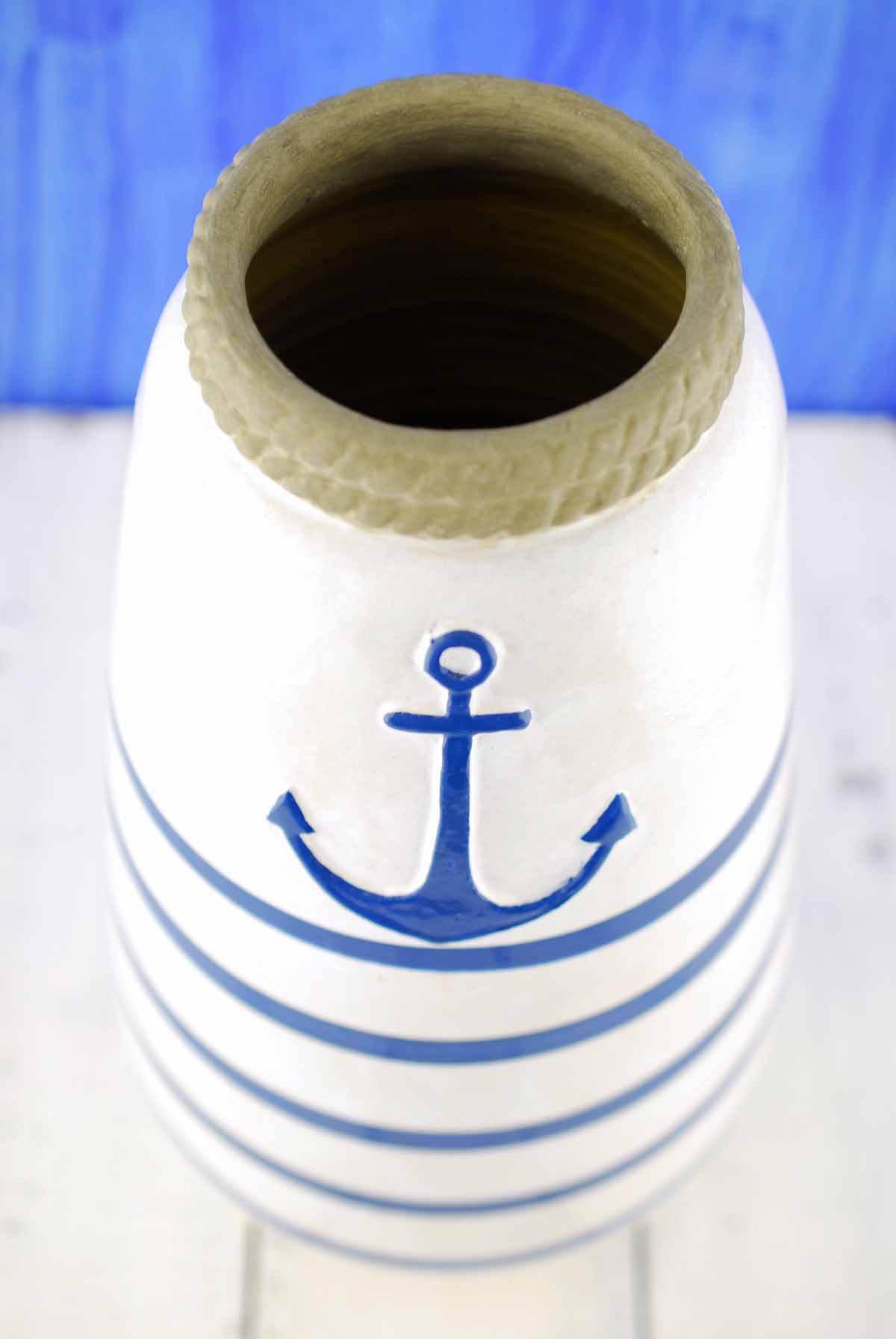 """Ceramic Hand Painted Anchor Nautical Vase 12"""""""