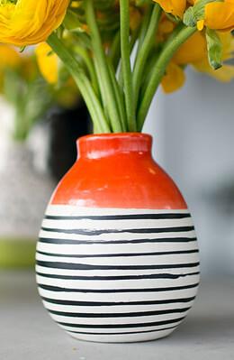 """Circus Vase 4""""x 5"""" , Ceramic Red & White"""