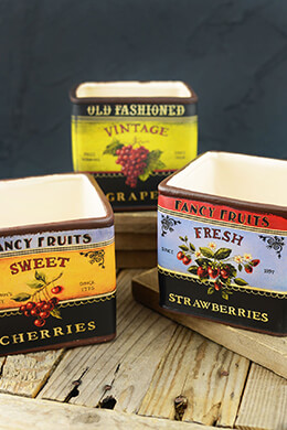 """Ceramic Pots with Vintage Fruit Labels 5"""" (Set of 6) Assorted"""