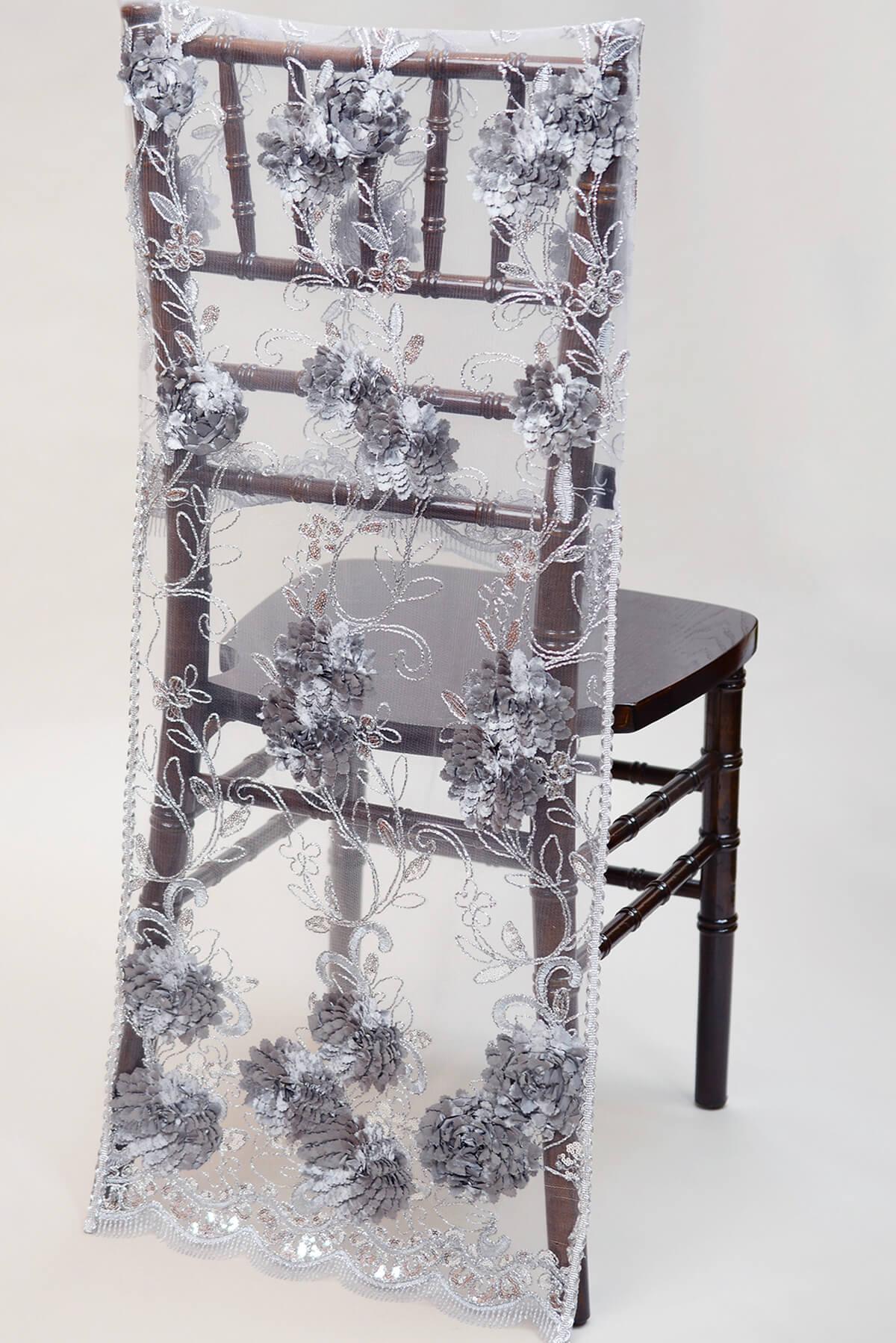 Chiavari Chair Covers-  Silver Floral