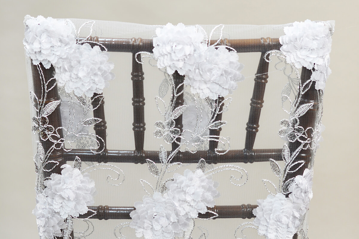 Chiavari Chair Covers - White Floral