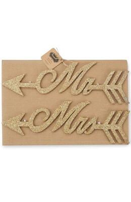 Mud Pie Mr & Mrs Gold Glitter Wedding Signs