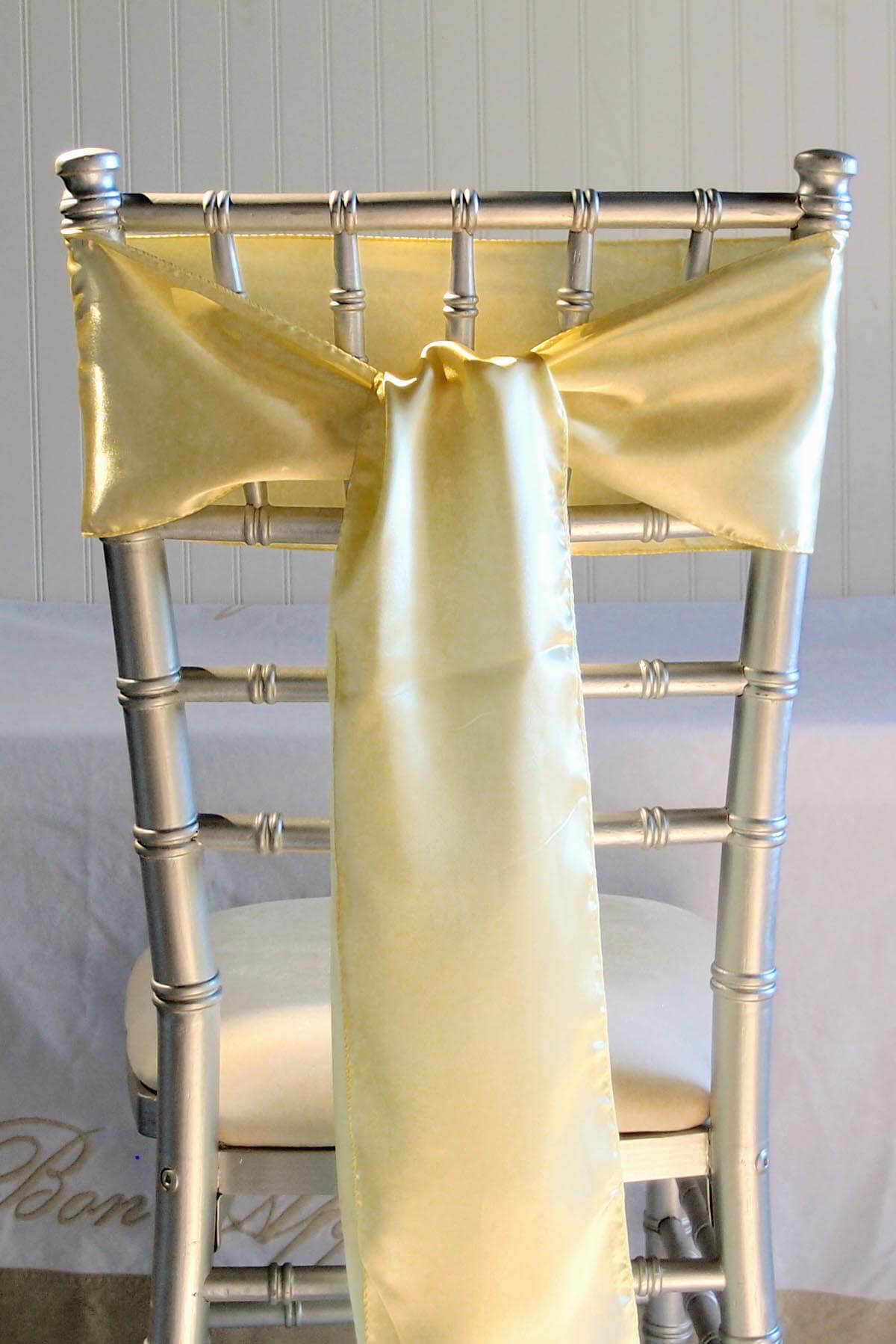 10 Daffodil Yellow Satin Chair Sashes 6x106