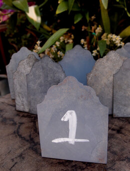 "12  Free Standing 4"" Zinc Chalkboard Easels for  Place Cards  & Table Numbers"