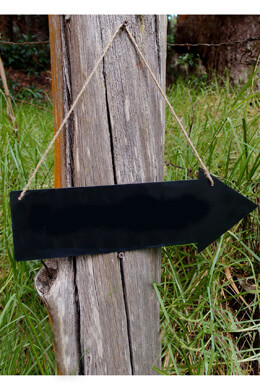 Arrow Chalkboard With Twine For Hanging, Double-sided 15in