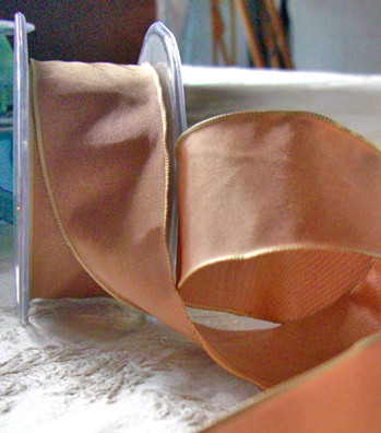 Rose Gold Champagne Taffeta Ribbon 1.5in x 9 yds Wired