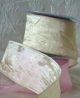 """Ivory Champagne Crepe Wired Satin Ribbon 2"""" x   27ft"""