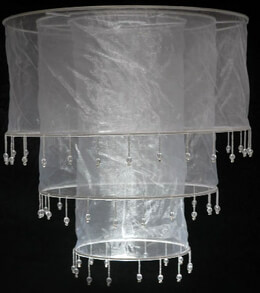 Sari Beaded Chandelier Lantern WHITE 13 x 14