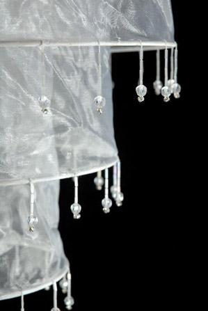 Sari Beaded Chandelier Lantern WHITE 13 x 14