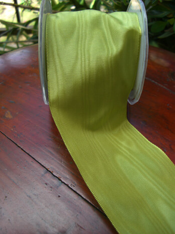 """Chartreuse Green 3"""" Deco Moire Ribbon27ft"""