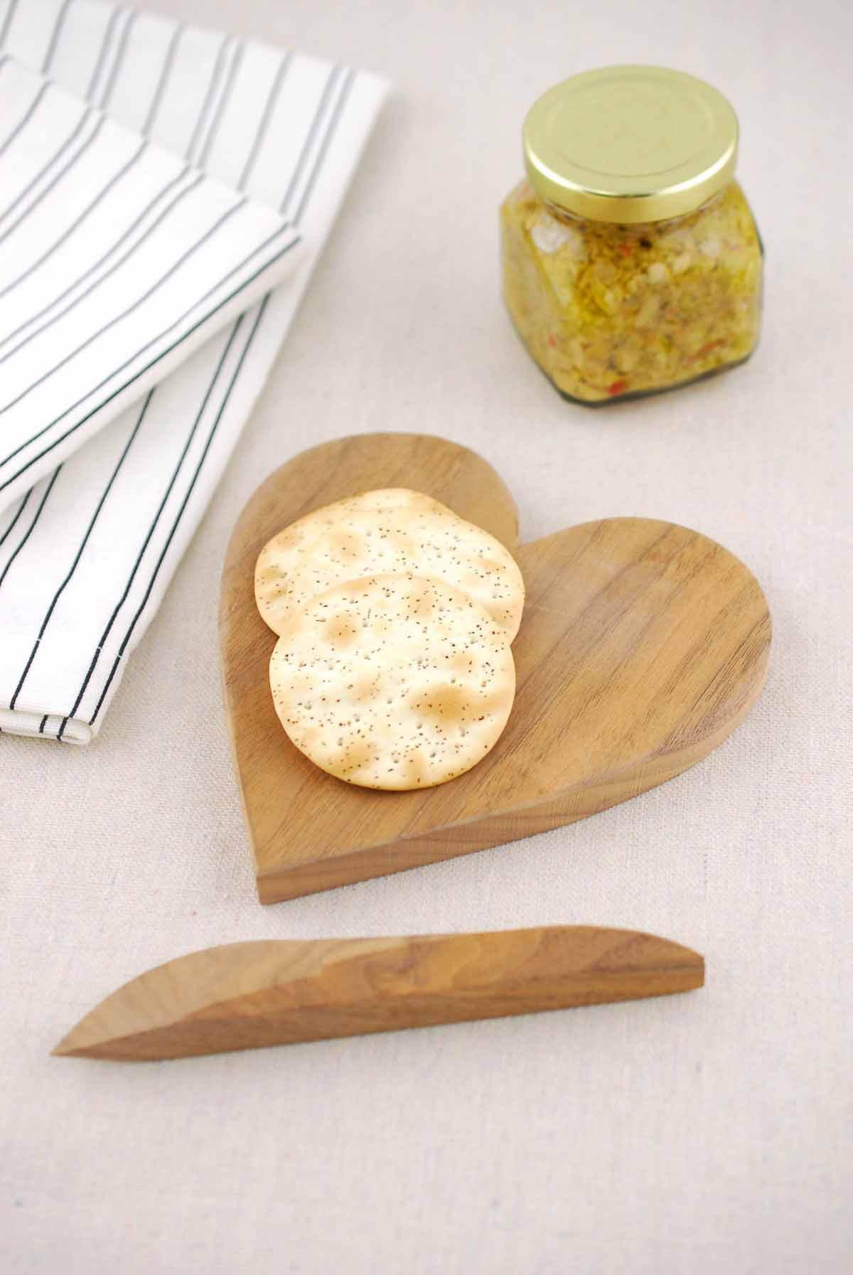 Handmade Heart Walnut Cheese Board w/ Knife 5.5in