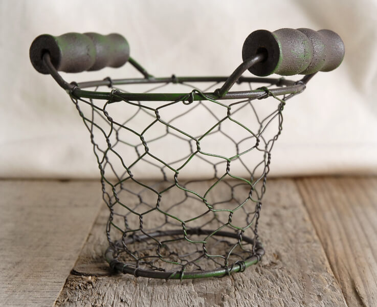Wire Basket With Wood Handles