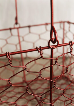 Red Wire Basket with Handle