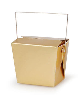 5 Tiny Gold Takeout Boxes 3in 8 Ounce