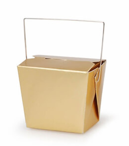 5 Tiny Gold  Takeout Boxes 3in / 8 ounce