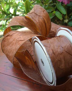 "Crinkled Crepe 2"" Wide Satin Brown Ribbon 27 FT $9.49"