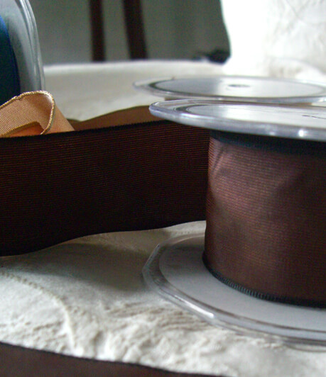 "Rich Brown Taffeta 1.5"" Wired Ribbon 9 yds"