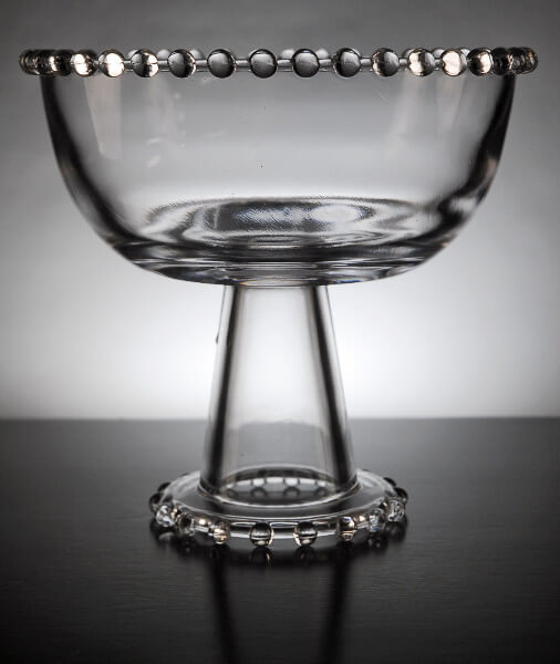 Clear Glass Beaded Pedestal Bowl