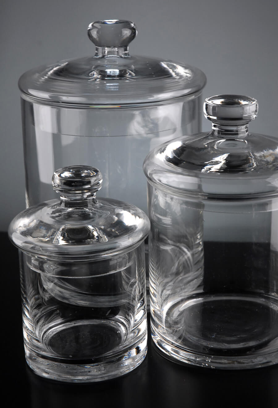 Set Of 3 Clear Glass Apothecary Canister Jars 5 Quot 7 Quot Amp 9 Quot