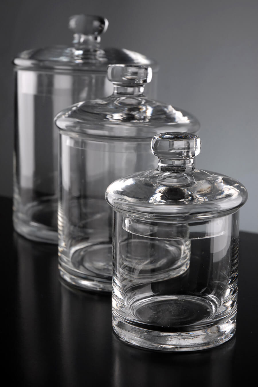 clear glass canisters for kitchen set of 3 clear glass apothecary canister jars 5 quot 7 quot amp 9 quot 23312