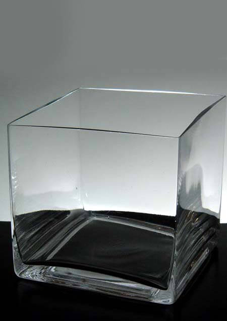 Square Vases Clear Glass  6x6