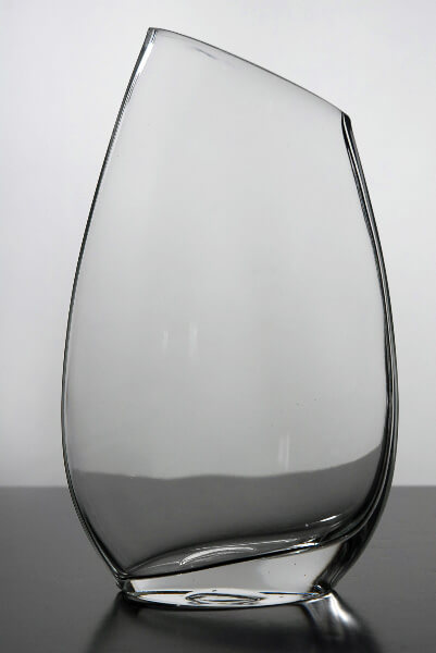Slanted Rim Glass Vase 10 In
