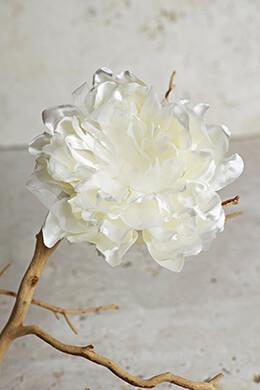 Silk Cream White Peony Hair Clip or Pin