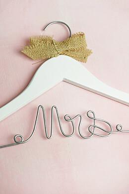 "Wedding Dress Hanger ""Mrs"" Burlap Bow"