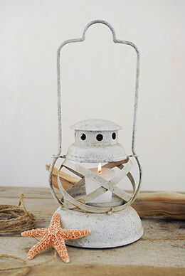 Whitewashed Colonial 12in  Metal Votive Candle Lantern with Handle