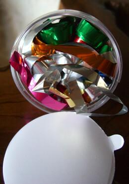 6 Confetti Streamer Cups Rainbow Mylar