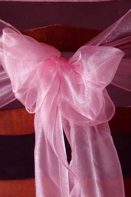 10 Organza Chair Sashes Coral Pink