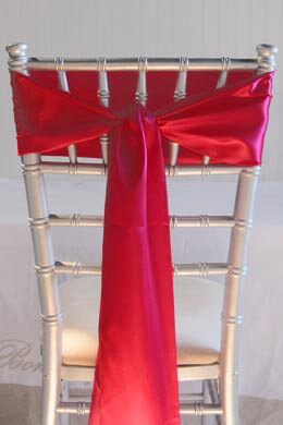 10 Hot Pink Satin Chair Sashes 6 x 108