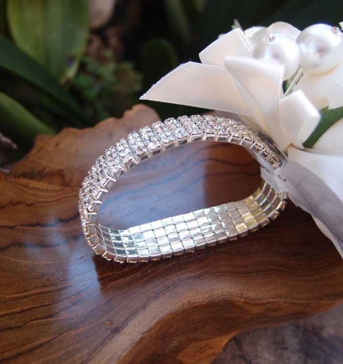 bracelet silver elastic with rhinestones, Beautiful flower