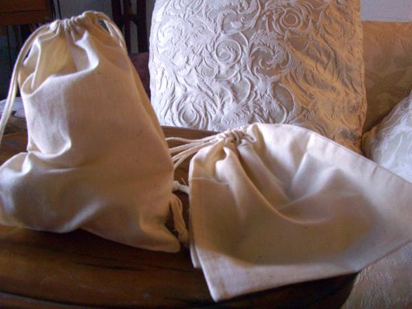 """12 Large 10"""" Cotton Drawstring Bags"""