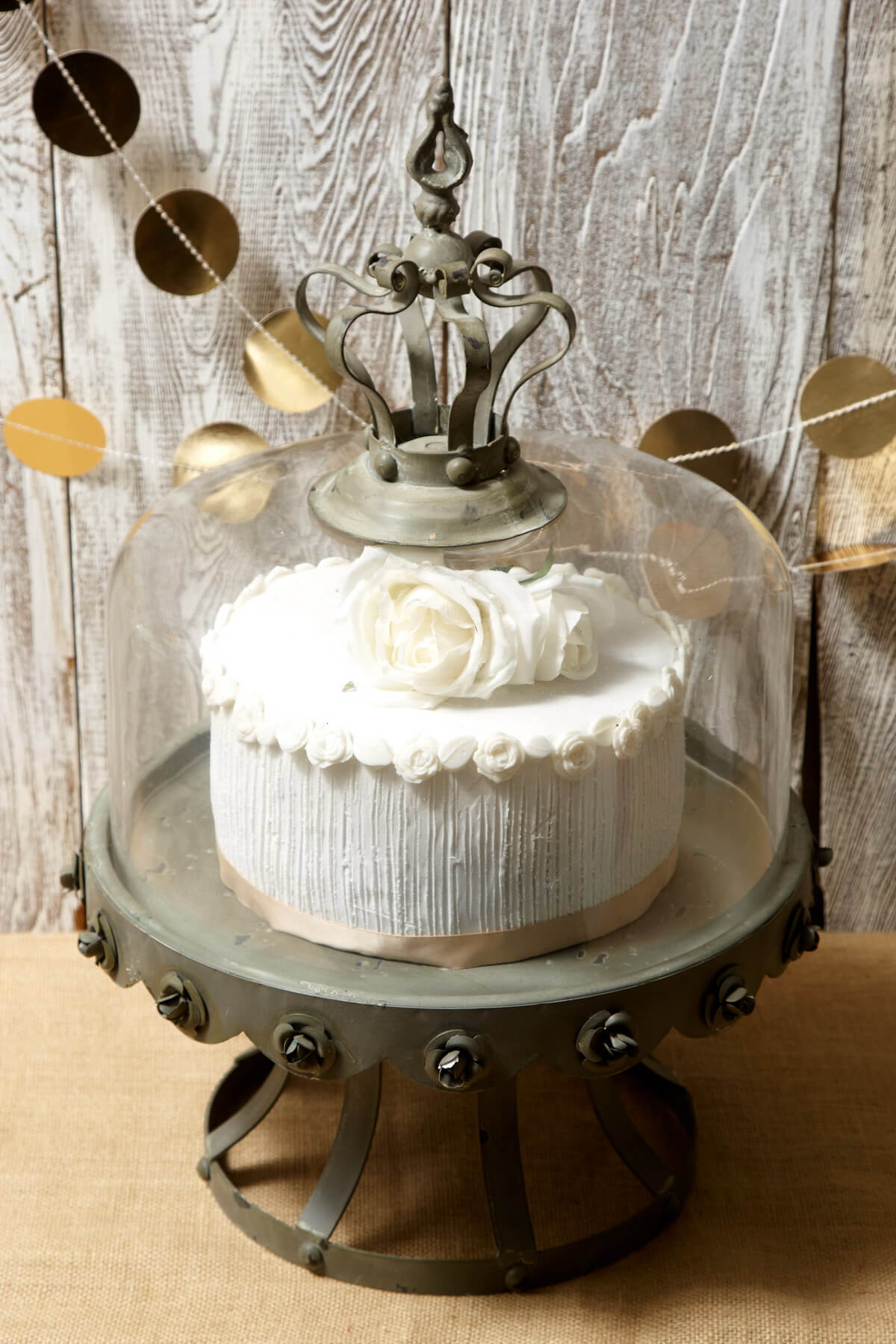 & Glass Dome Covered Zinc Rustic Cake Stand 13in