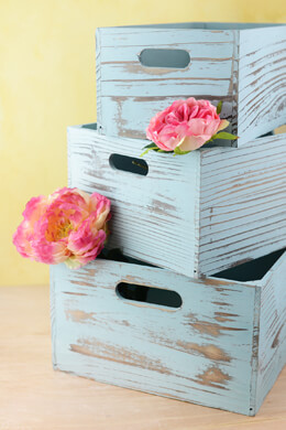 Blue Wood Crates Set of 3