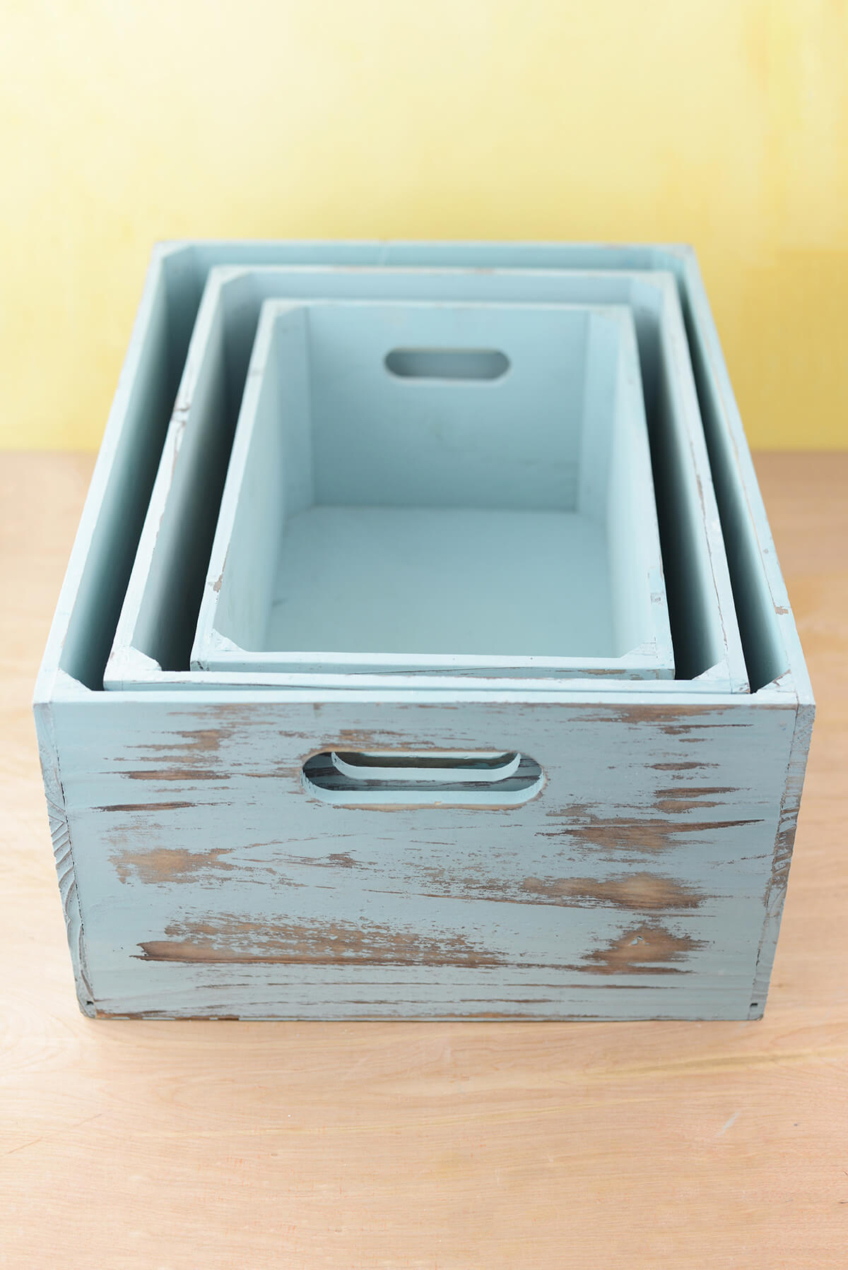 Blue Wood Crates Set Of 3