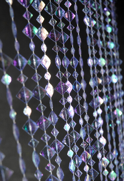 Crystal Beaded Curtain Iridescent Violet Purple 6ft