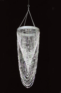 Twisted Crystal Beaded Chandelier, Round 21in, with lighting kit