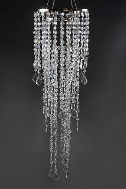 Crystal Decorative 3 Tier Chandelier 34in  Plug In